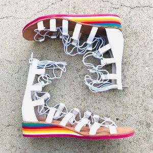 JEFFREY CAMPBELL gladiators sandals lace up white